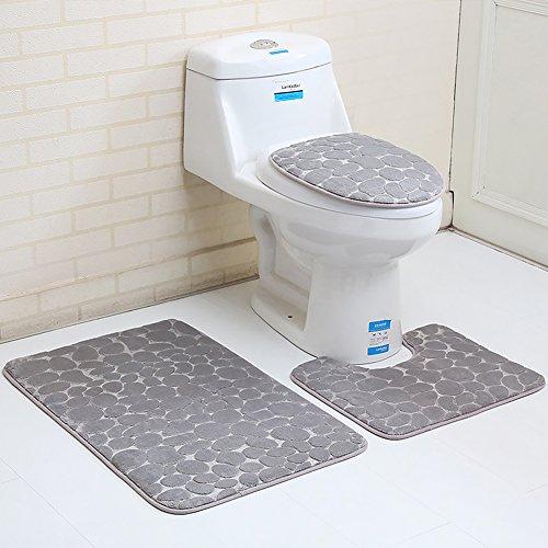 ROKF Juego de 3 Piezas de alfombras de baño, Alfombra de baño + Tapa de Inodoro + Alfombrilla de baño Antideslizante de Secado rápido Lavable a máquina, Gris, 3 Piezas