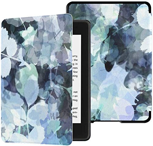All-New Kindle Paperwhite Water-Safe Fabric Cover(10th Generation, 2018 Release), Abstract Blue Background Foliage Spots Oak Tablet Case