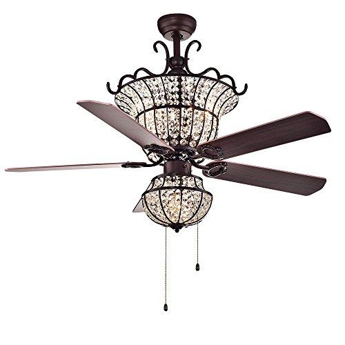 Warehouse of Tiffany CFL-8154BR Charla 4-Light Crystal 52-inch Chandelier Ceiling Fan, 52W x 52L x 25H, Red