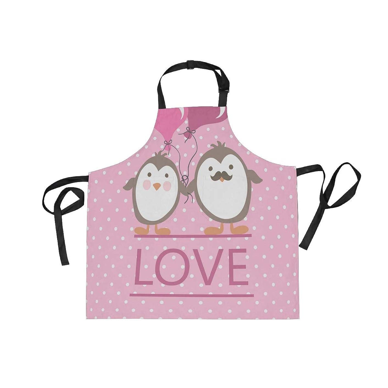 試みる時要件エプロン 愛 ペンギン ピンク 前掛け 女性用 機能性 ツイル生地 ポケット付き 家庭用 料理教室用 プリント 調整できる 柔らかい 耐久性 実用性 男女兼用 仕事着