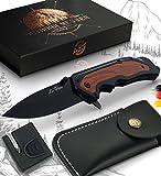 Le Flair Outdoor Messer - Einhandmesser Taschenmesser mit 8,5cm Edelstahl Titanklinge - Survivalmesser mit Korrosionsschutz - Bushcraft Messer inkl. Messerschärfer und Magnetbox - Klappmesser