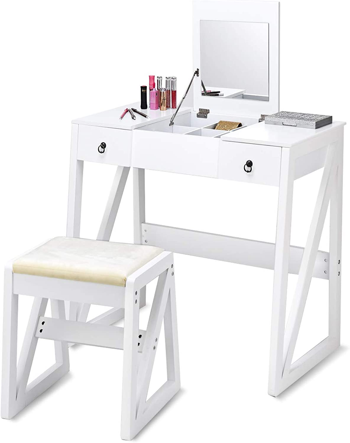 CASART Vanity Dressing Table Set with Stool and Mirror, Foldable Top Mirrored for Makeup Organizers, Dual Modern Writing Desks, Contemporary Tables Desk w  2 Drawers