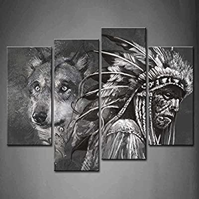 4 Panel Wall Art Black And White Wolf And Indians Painting The Picture Print On Canvas Animal Pictures For Home Decor Decoration Gift piece (Stretched By Wooden Frame,Ready To Hang)