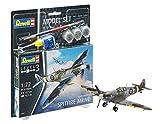 Revell Set Supermarine Spitfire M, en Kit Modelo con Base Accesorios, fácil Pegar y para pintarlas, Escala 1: 72 (63897), 12,7 cm de Largo