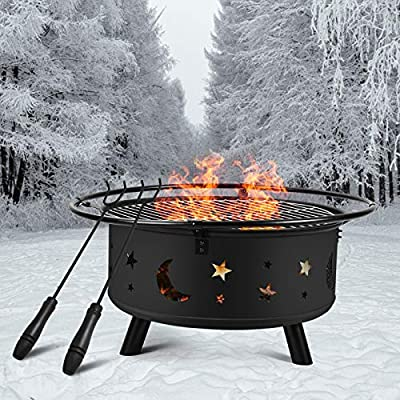 Outdoor Fire Pit 30 inch, Metal Firepit Bonfire Wood Burning Heater Stove with Spark Screen and Fireplace Poker, Stars and Moons Design Pattern,for Patio Backyard Garden Camping Picnic Bonfire