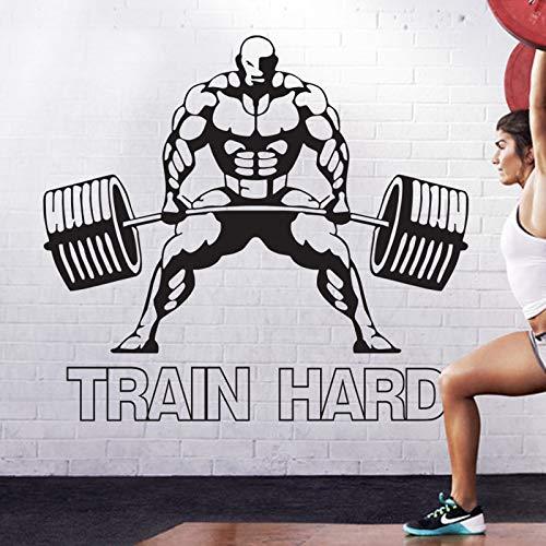 yiyiyaya Gym Aufkleber Fitness Langhantel Muskel Crossfit Aufkleber Bodybuilding Poster Vinyl Wandtattoos Wanddekor Wandbild Gym Aufkleber 58X64 cm