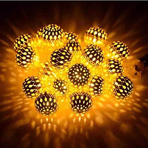Solar marroquí de hierro forjado hueco pequeña esfera exterior impermeable LED8 patrón luces de cadena Navidad decoración de jardín luces 20LED A