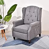 Wingback Chair Recliner, Accent Chairs for Living Room Bedroom, Massage and Vibration Heat, Tufted Comfy Reclining Arm Chair for Adults, Reading, Napping (Gray)