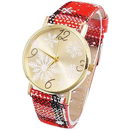 junmo shop Reloj de cuarzo para mujer, con diseño de copo de nieve, analógico, de cuarzo, esfera redonda, con correa de piel, para mujer, niña, dama