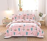 Ycosy 3 Piece Girls Quilt Cartoon Animal Llama Bedspread Set Full/Queen Size Pink Animal Alpaca Children Summer Blanket Throw Lightweight Desert Cactus Plant Coverlets, 1Quilt +2pcs Pillow Shams