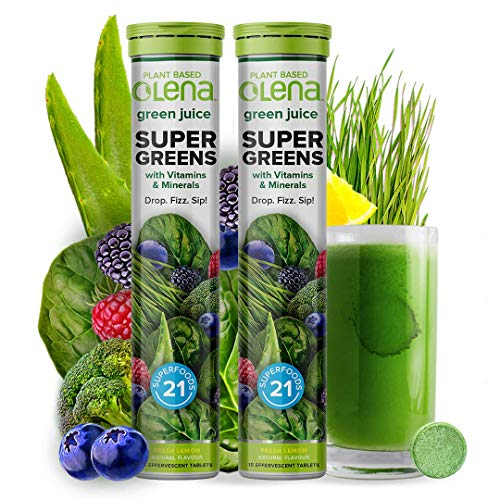 Olena Plant-based SUPER GREENS Wholefood Multivitamin for Immunity and Detox with Vitamin C, Zinc, B Complex, Iron, and 21 Plant Superfoods & Antioxidants (15 Effervescent Tablets) (2)
