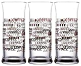"""Topkapi 251.003-3-TLG Eiskaffee Gläser """"Italiano"""" mit Dekor für Milchkaffee, Milchshake, Frappe, Cocktails, Longdrinks, Kakao"""