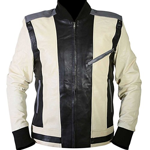 Mens Ferris Celebrity Cosplay Costume Retro White Black Leather Jacket