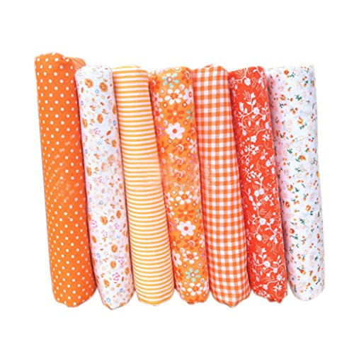 LUFA 7pcs Tela de Tela de artesanía de Tela de algodón Tela de Remiendo de Tejido Tela de DIY de Costura de Acolchado patrón Floral 25 * 25cm