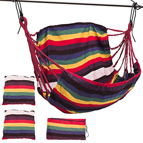 Alyster Hammock Chair Hanging Rope Swing Canvas Swing Chair Hanging Rope Hammock Chair with 2 Seat Cushions and Storage Bag (Style 1)