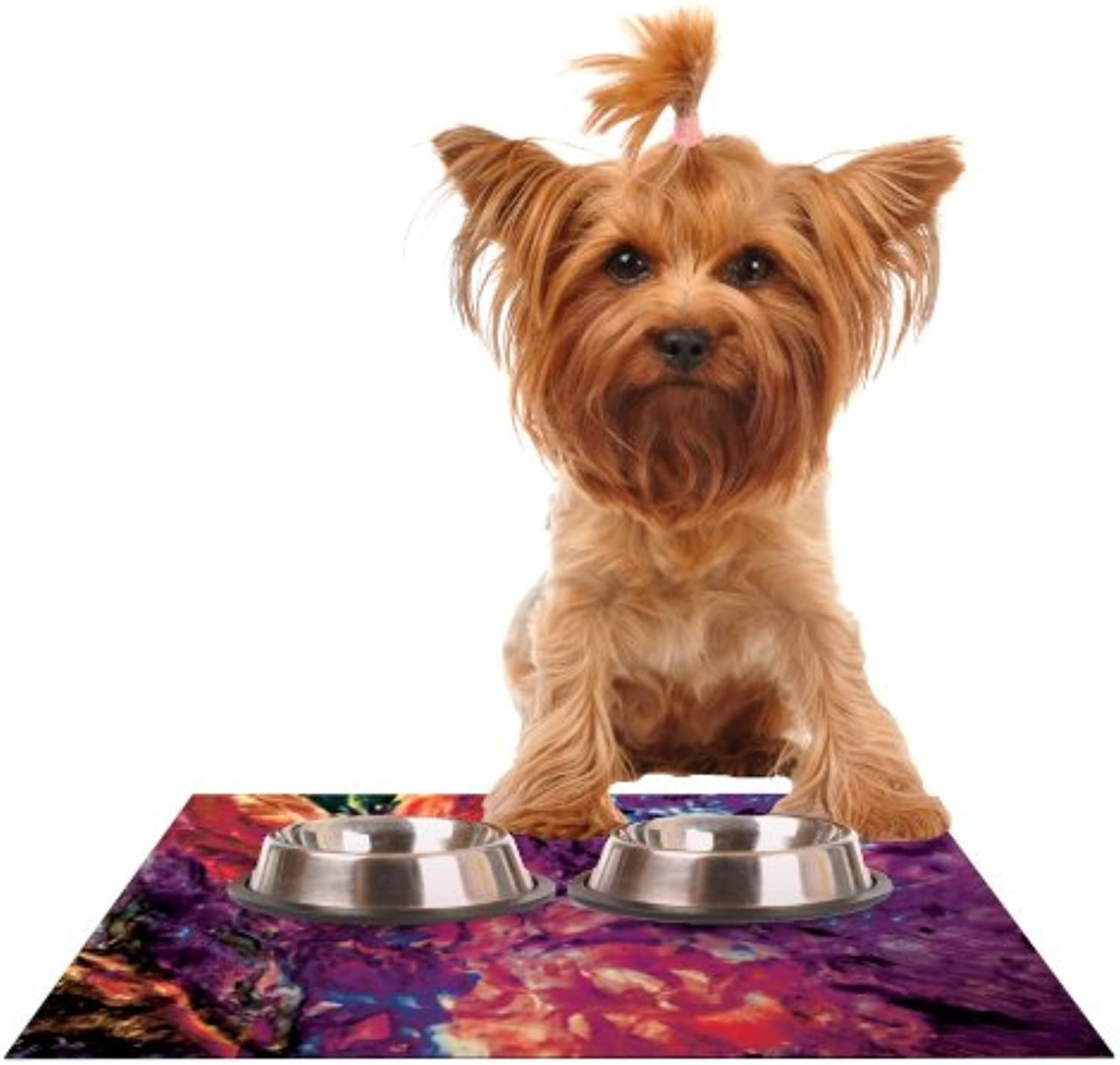 KESS InHouse Mary Bateman Passion Flowers II  Feeding Mat for Pet Bowl, 18 by 13Inch