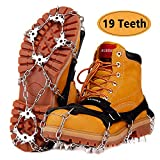 AUHIKE Upgraded Version 19 Spikes Traction Cleats Ice Snow Grips with Tear-Resistant Gasket