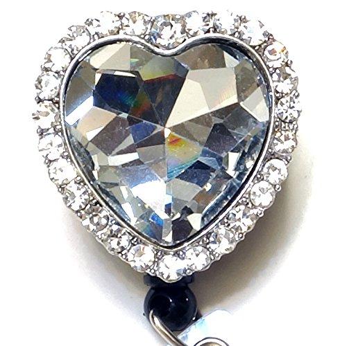 WigsPedia Bling Rhinestone Retractable Badge Reel/ID Badge Holder/Brooch/Pendant/Reels (Diamond Heart)