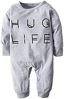 BIG ELEPHANT Baby Boys' Letter-Printed Long Sleeve Pajama Romper Sleeper H96