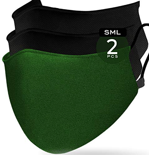 3 Layer Nose & Mouth Covers Reusable Army Green (Pack of 2) by Enzo is made from Cotton cover + double Muslin Combo with Filter Slots for Extra Protection – UniSex Fashion Wear Adult Men & Women (S-M)