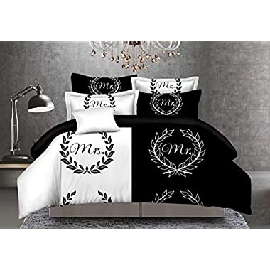 CocoQueen Black and White Couples 3pcs Duvet Cover Set Mrs. Mr. Lovers Bedding Set Queen Size