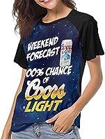 Weekend Forecast 100 Chance of Coors Light Baseball T Shirt Raglan Tee Top Woman Short Sleeve