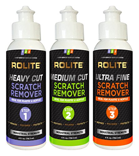 Rolite - RSR3STEP4zCP 3 Step Scratch Removal System for Clear Plastic and Acrylic Surfaces - Heavy Cut, Medium Cut and Ultra Fine Combo Set Removes Scratch and Swirl Marks, 3 - 4 Ounce Bottles
