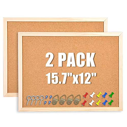 """2-Pack Cork Board Bulletin Board, Cork Boards for Walls with Pins, Eye Bolts, gaskets, Screws, Pin Board for Office, School and Home(12""""x15.7"""")"""