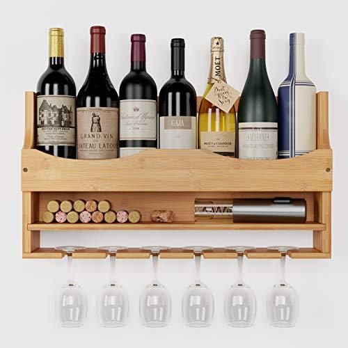 HOMECHO Weinregal mit Glashalter Flaschenregal aus Bambus für 7 Flaschen und 6 Gläser Wandregal Wandmontage Hängeregal Holz als Weinflaschenhalter Ablage Natur 55×10×30cm