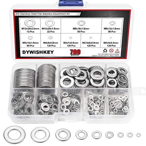 DYWISHKEY 700Pcs 9 Sizes Stainless Steel Flat Washers Assortment Kit (M2 M2.5 M3 M4 M5 M6 M8 M10 M12)
