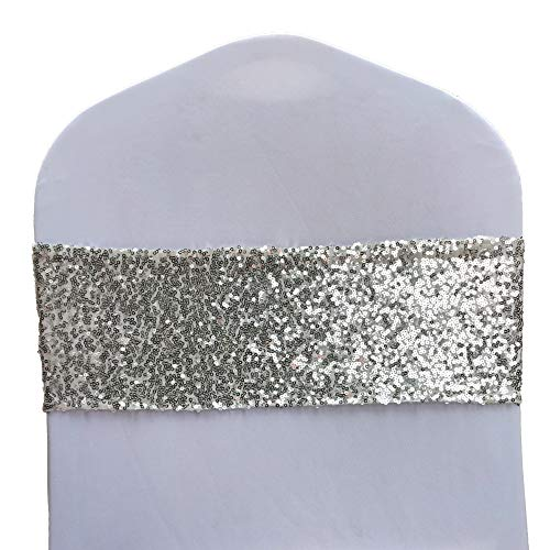 SheYang High Elastic Sequin Chair Sashes Bands for Wedding Party Decoration Soft Sashes, Shining Sequin Chair Bows for Party Decoration Home (12PCS, Silver1)