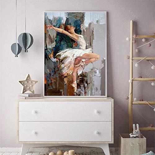 Chihie Bailarina de Baile Pintura al óleo Famoso Artista de Mahnoor Pintado Abstracto Ballet Girl Wall Painting 60cm x90cm Sin Marco