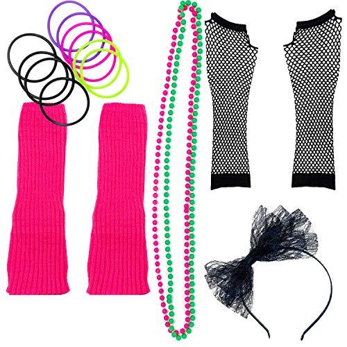 Zilo Novelties 80er Jahre Kostüm für Damen The Perfect 80s Damen Kostüm Set zum Hit der Party, Pink