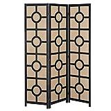 Modern Design Black Wood Framed 3-Panel Folding Room Divider with Beige Woven Linen Panels