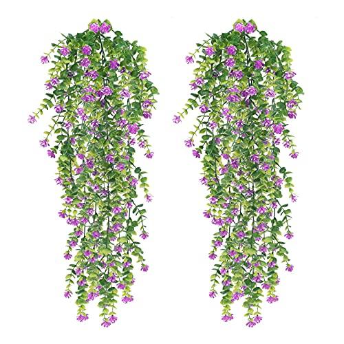 NAHUAA 2Pcs Pianta Artificiale Viola Pianta Finta Cadente Pendenti Piante Artificiali Edera Rampicante Artificiale per la Decorazione Della Parete del Balcone del della Festa nuziale Dell'ufficio