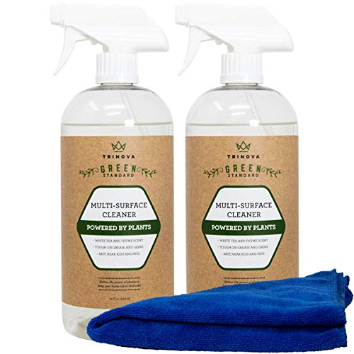 Natural All Purpose Cleaner Organic - Multi Surface Cleaning Spray for Safe Kitchen, Bathroom, Toy, Stain Removal, Counter, Wall, Kids and Pets. 32oz 2-Pack 64 oz
