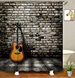 YUYASM Music Shower Curtain Decor,Electric Guitar Vintage Brick Wall House Fabric Bathroom Curtains,Waterproof Polyester Bath Curtain Set with Hooks 70x70 Inch