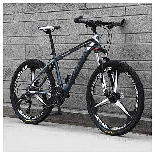 Sport all'Aria Aperta 26'Mountain Bike Pieghevole da 30' a Sospensione Anteriore Bicicletta da Uomo o Donna MTB Telaio in Acciaio ad Alto tenore di Carbonio con Doppio Freno a Olio, Grigio