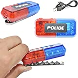 Police Security Warning Lights LED Emergency Hazard Flashing Strobe Waterproof Lights Bar, Blue & Red Safety Clip on Toys Car Bike Light, Hands-Free Flashlight for Officer & Dress Up Costume Role Play
