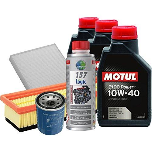 Tecno Filtri KIT-30X/1MO Kit Tagliando con olio motore sintetico Motul 2100 Power+ 10W40 e Tunap 157 per la pulizia del circuito di lubrificazione prima del cambio dell'olio (Fino a 08/2011)