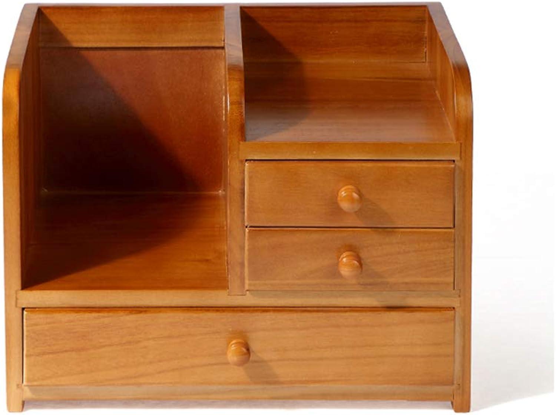 LCSHAN Desktop File Cabinet Solid Wood Drawer Type Stationery File Book Debris Sorting Box Desk Shelf (color   C Style)
