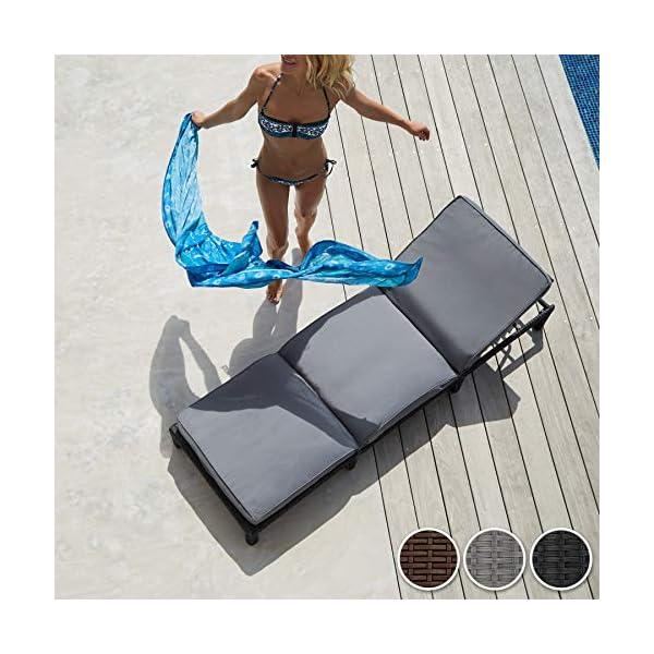 TecTake Polyrattan Sonnenliege Gartenliege | inkl. Polsterauflage | 5 Stufen verstellbare Rückenlehne - Diverse Farben…