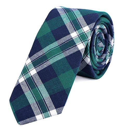DonDon Corbata de cuadros e rayas de algodón para hombres de 6 cm - azul verde