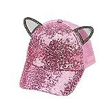 Giovacker Kids Girls Boys Sparkle Sequins Mesh Baseball Cap Cat Ears Glitter Shimmer Peak Cap Adjustable Sun Hat Pink