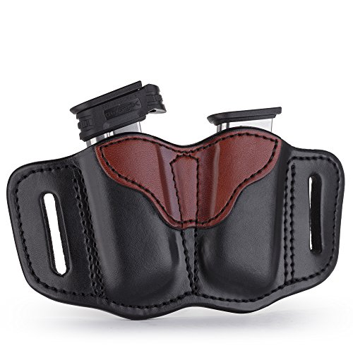1791 GUNLEATHER 2.1 Mag Holster - Double Mag Pouch for Single Stack Mags, OWB Magazine Pouch for Belts - Black & Brown