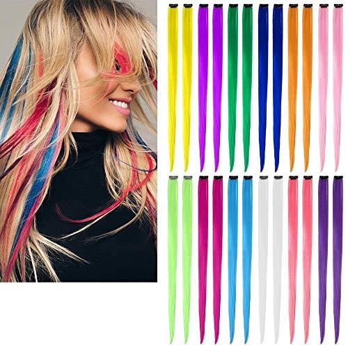 Farbiger Haarverlängerungs Clip Multi-Farben Haarsträhnen Regenbogen Farbe Gerade Synthetisch Haarteil für Mädchen und Kinder-12 Farben in 24 pcs