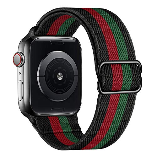 SIRUIBO Stretchy Nylon Solo Loop Bands Compatible with Apple Watch 42mm 44mm, Adjustable Stretch Braided Sport Elastics Women Men Strap Compatible with iWatch Series 6/5/4/3/2/1 SE, Red Green Black