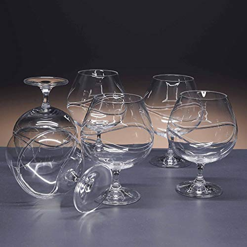 Set de 6 Copas de Cristal para coñac o Brandy - talladas a Mano - colección Gastro.