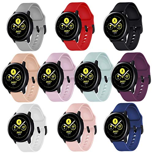 COLAPOO 10-PACK Sport Bands for Galaxy Watch Active2 44mm,Galaxy Watch Active2 40mm/Galaxy Watch 42mm/Galaxy Watch Active 40mm/Gear Sport Watch With Black Watch Buckle (10-PACK, Large)