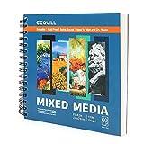 GC QUILL 60 Hojas Bloc de Dibujo para Bocetos con Medios Mixtos 226X210mm 135lb 200GSM para Medios Húmedos y Secos GC-MP8983